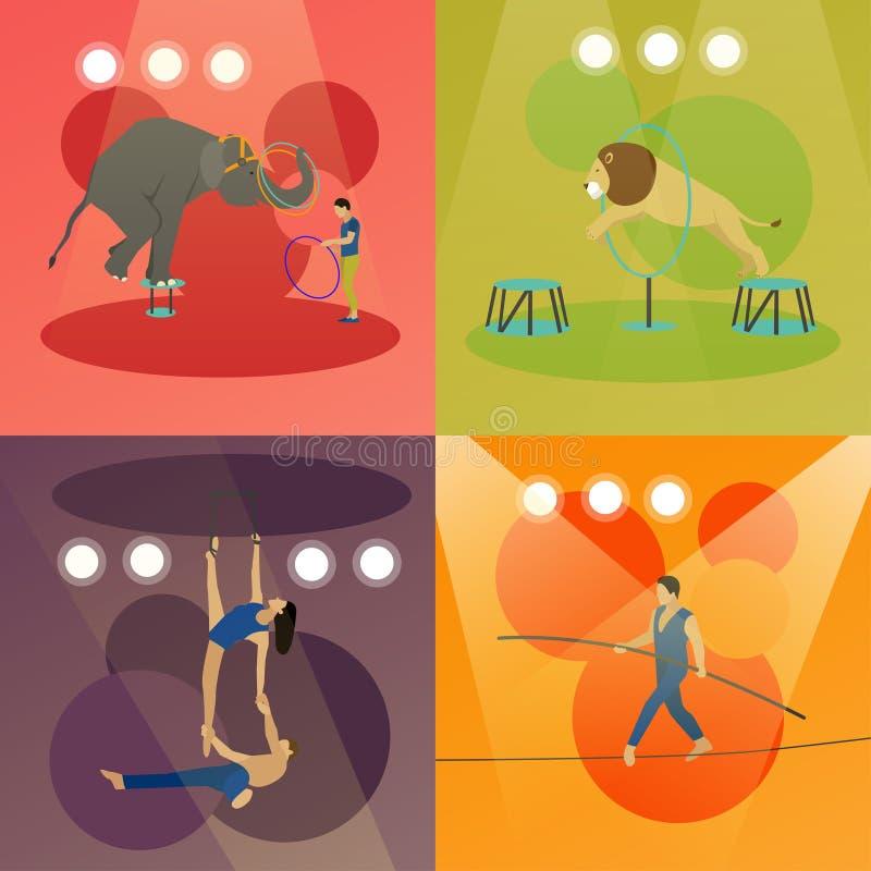 Vektoruppsättning av cirkusbegreppsbaner Akrobater och konstnärer utför show i arena stock illustrationer