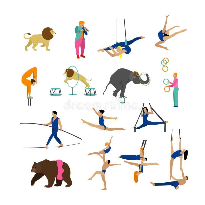 Vektoruppsättning av cirkuskonstnärer, akrobater och djur på vit bakgrund Symboler designbeståndsdelar royaltyfri illustrationer