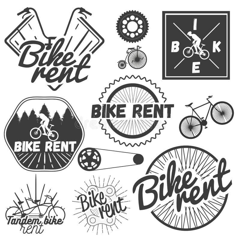 Vektoruppsättning av cykeletiketter i tappningstil Cykelhyra shoppar royaltyfri illustrationer