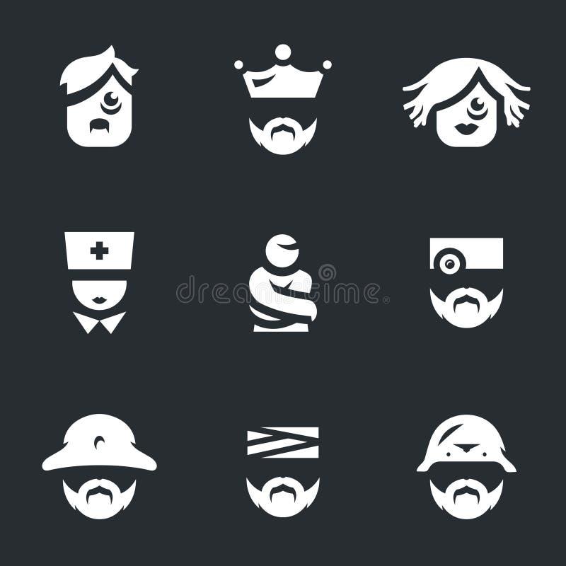Vektoruppsättning av dårhussymboler royaltyfri illustrationer