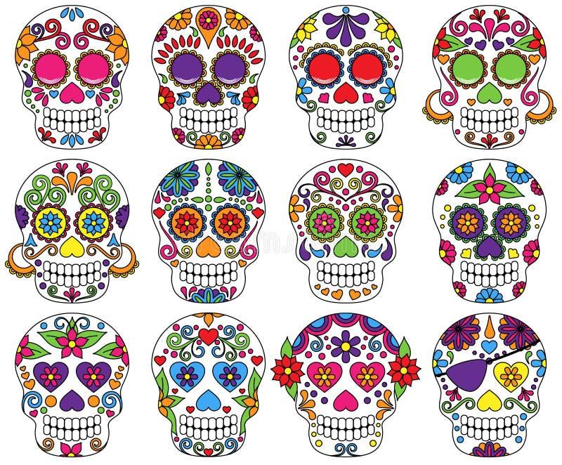 Vektoruppsättning av dagen av de döda skallarna vektor illustrationer