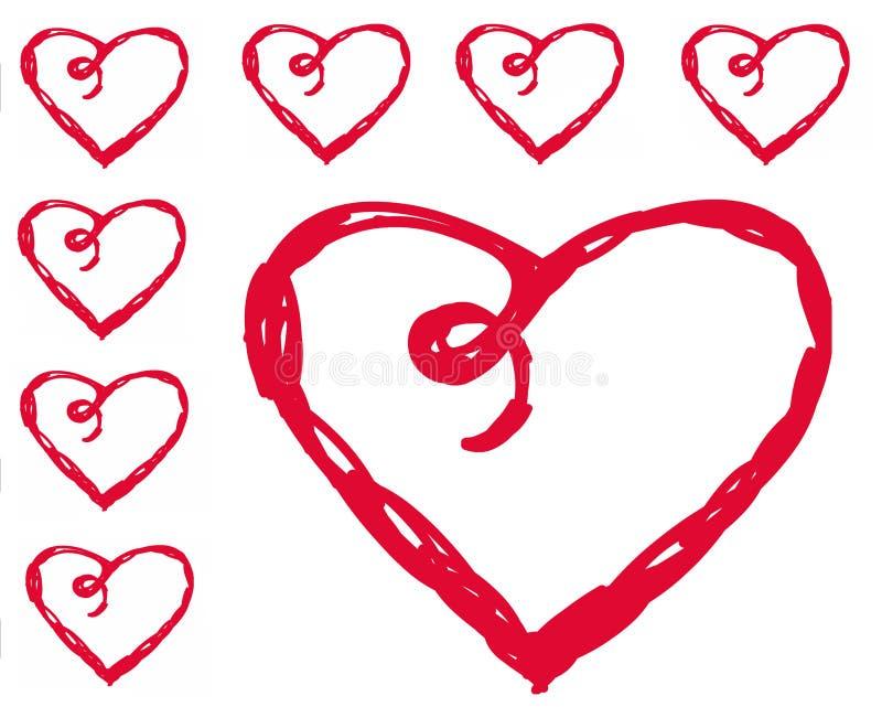 Vektoruppsättning av dagen för valentin` s med röda hjärtor på vit bakgrund royaltyfri illustrationer