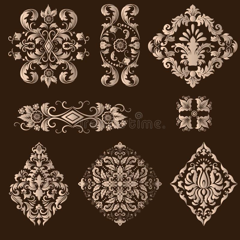 Vektoruppsättning av damast dekorativa beståndsdelar vektor illustrationer