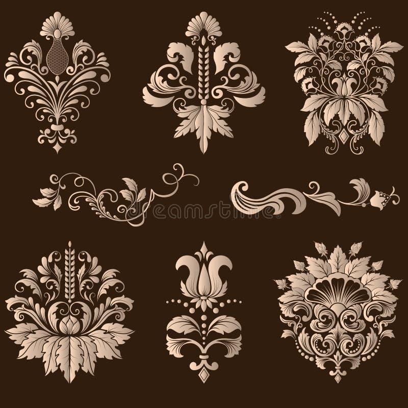 Vektoruppsättning av damast dekorativa beståndsdelar royaltyfri illustrationer