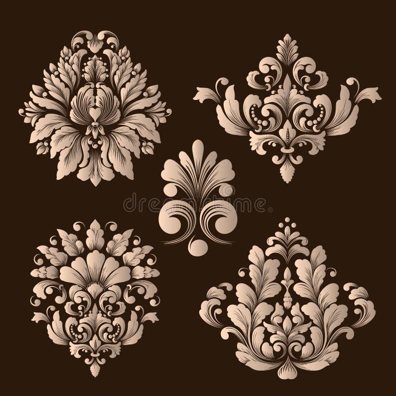 Vektoruppsättning av damast dekorativa beståndsdelar Eleganta blom- abstrakta beståndsdelar för design royaltyfri illustrationer