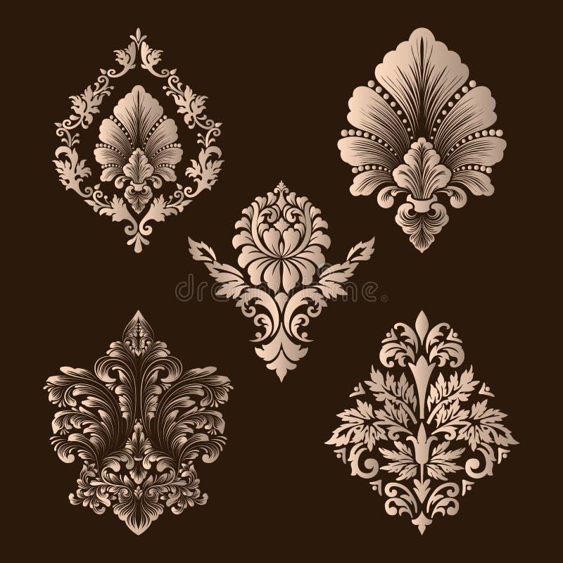 Vektoruppsättning av damast dekorativa beståndsdelar Eleganta blom- abstrakta beståndsdelar för design Göra perfekt för inbjudnin royaltyfri illustrationer