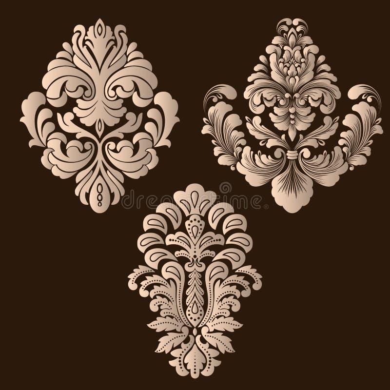Vektoruppsättning av damast dekorativa beståndsdelar Eleganta blom- abstrakta beståndsdelar för design Göra perfekt för inbjudnin vektor illustrationer