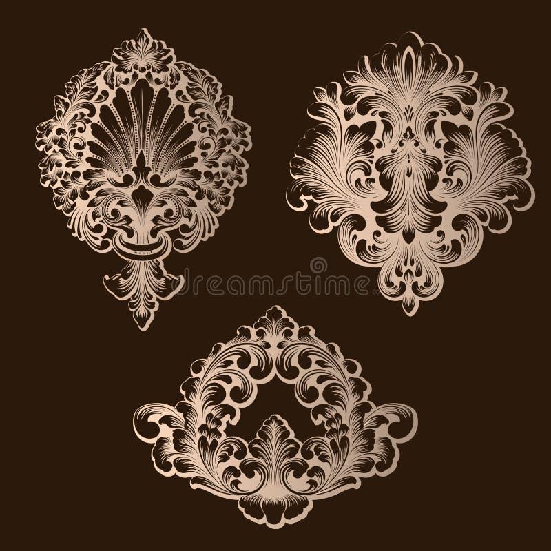 Vektoruppsättning av damast dekorativa beståndsdelar Eleganta blom- abstrakta beståndsdelar för design Göra perfekt för inbjudnin stock illustrationer