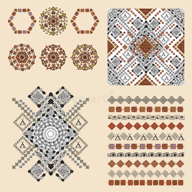 Vektoruppsättning av dekorativa beståndsdelar för mode i etnisk stil royaltyfri illustrationer