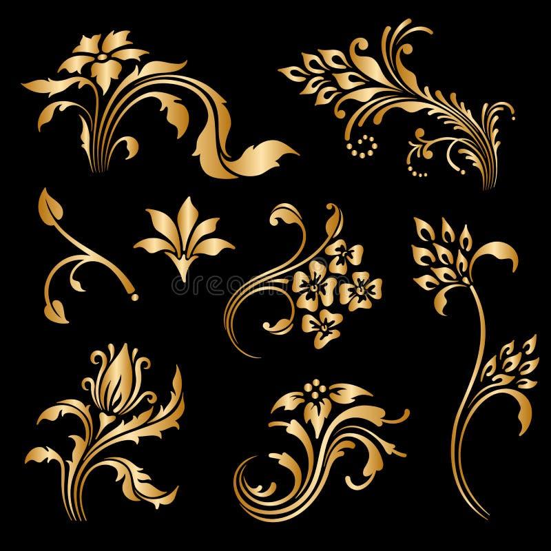 Vektoruppsättning av dekorativa beståndsdelar för tappning royaltyfri illustrationer