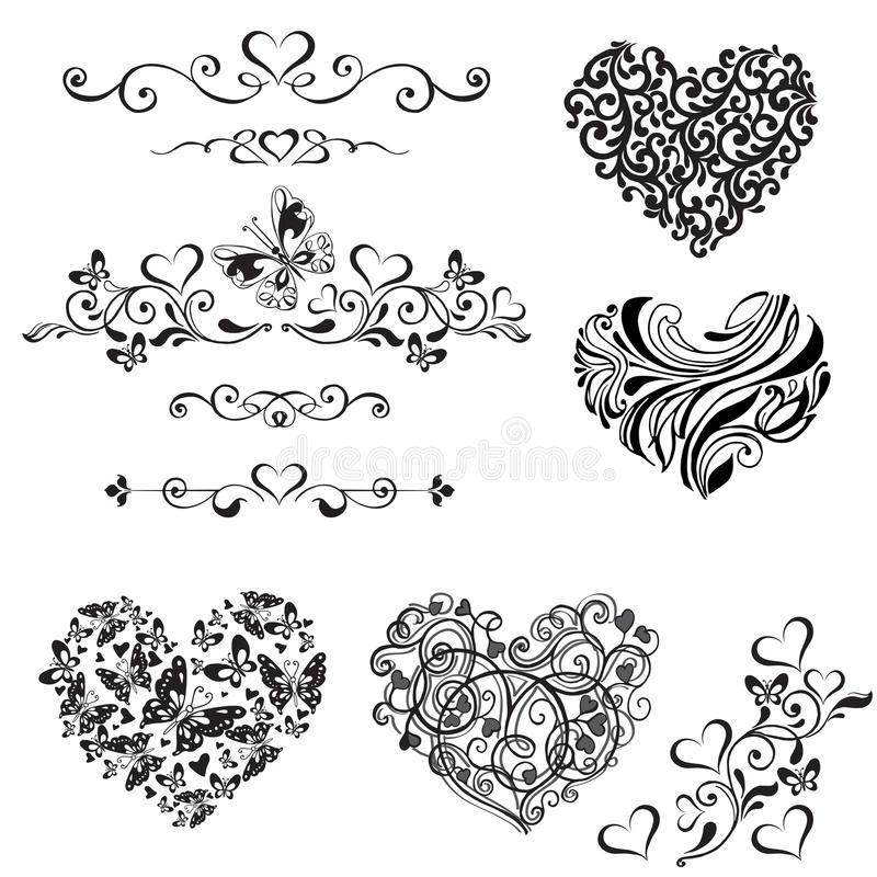 Vektoruppsättning av dekorativa hjärtor, karaktärsteckning, tappning dekorativ el royaltyfri illustrationer