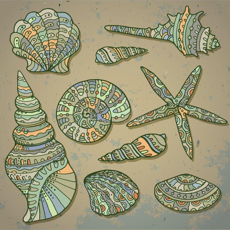 Vektoruppsättning av dekorativa snäckskal vektor illustrationer