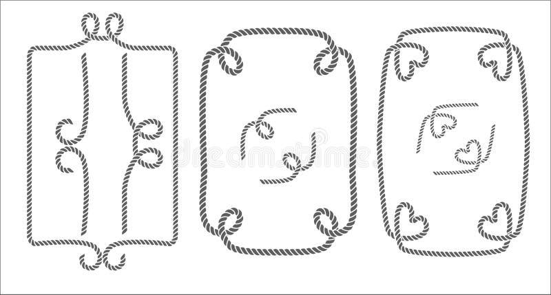 Vektoruppsättning av dekorativa svartvita repgränser, ramar och beståndsdelar stock illustrationer