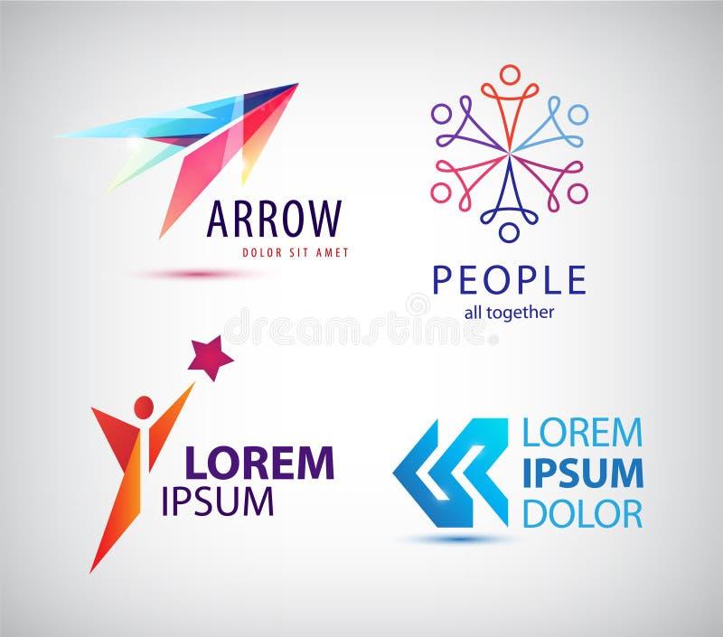 Vektoruppsättning av den abstrakta logodesignen, pil stock illustrationer