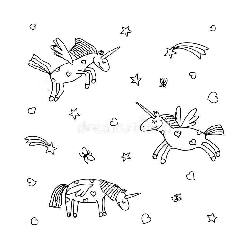 Vektoruppsättning av den gulliga tecknad filmenhörningen Illustration av enhörningar vektor illustrationer