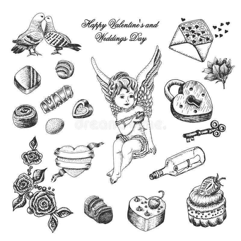 Vektoruppsättning av den hand drog tappningvalentin och bröllopsamlingen för dag stock illustrationer