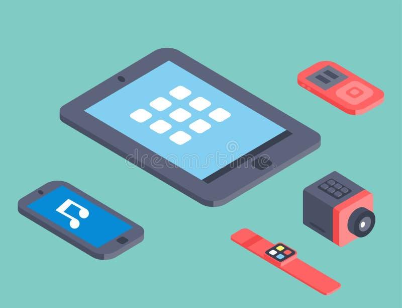 Vektoruppsättning av den isometriska illustrationen för mobil kommunikation 3d för trådlösa teknologier för datorapparatsymboler stock illustrationer