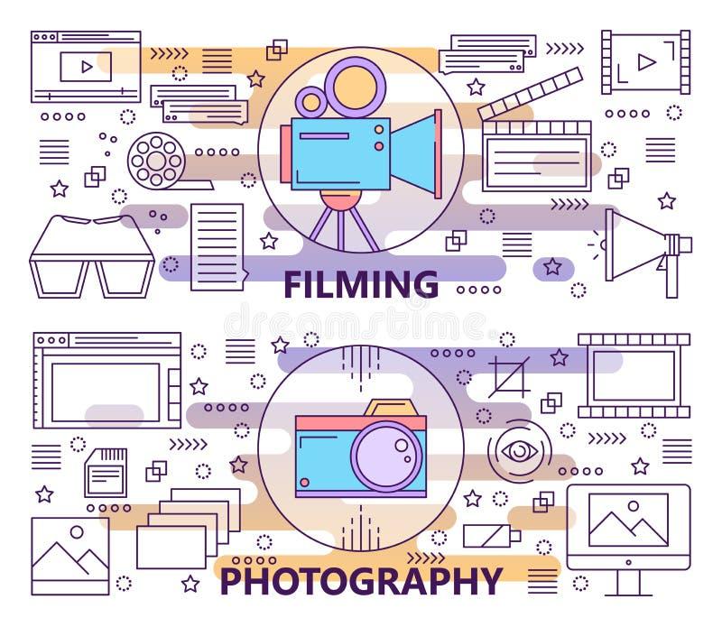 Vektoruppsättning av den moderna tunna linjen fotografi och filmandebaner vektor illustrationer