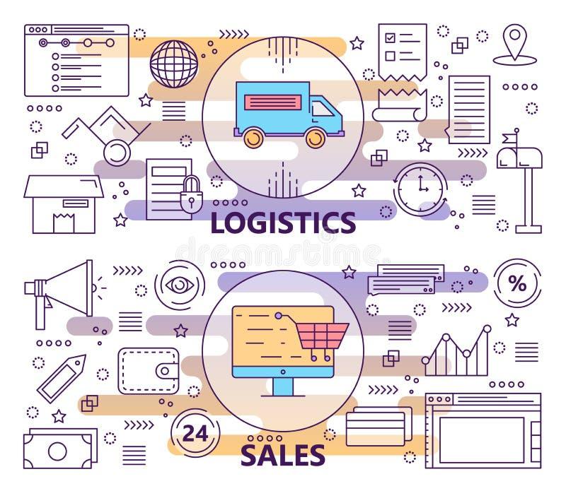 Vektoruppsättning av den moderna tunna linjen logistik och försäljningsbaner royaltyfri illustrationer