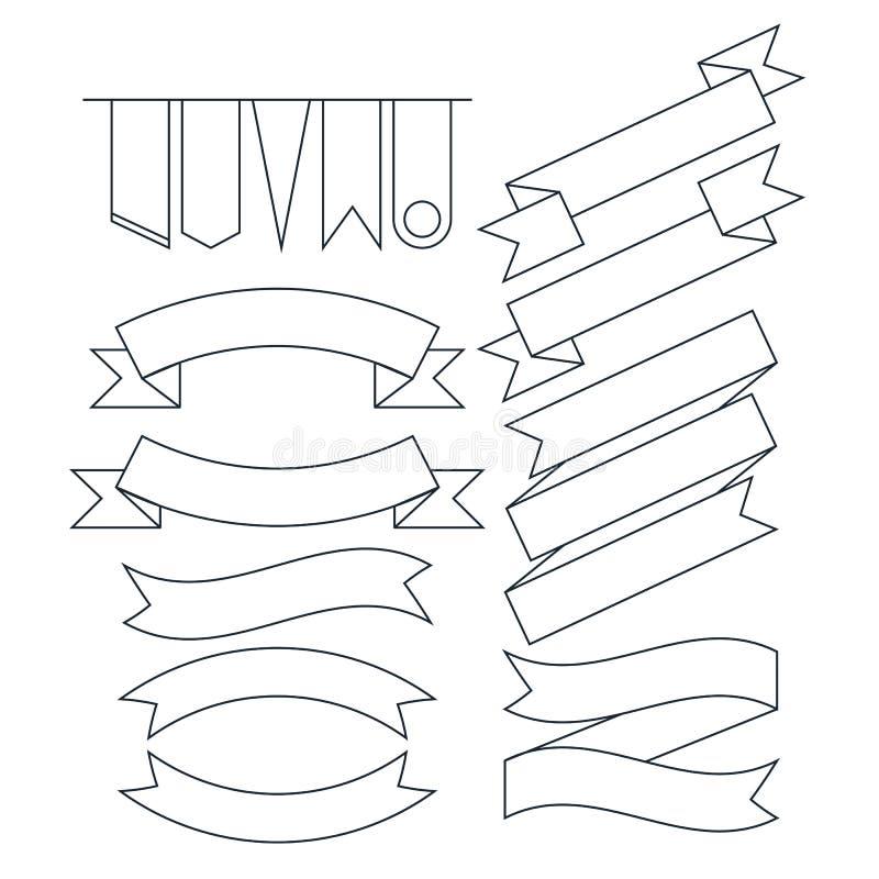 Vektoruppsättning av den olika formade linjen stil för bandbaner framlänges stock illustrationer