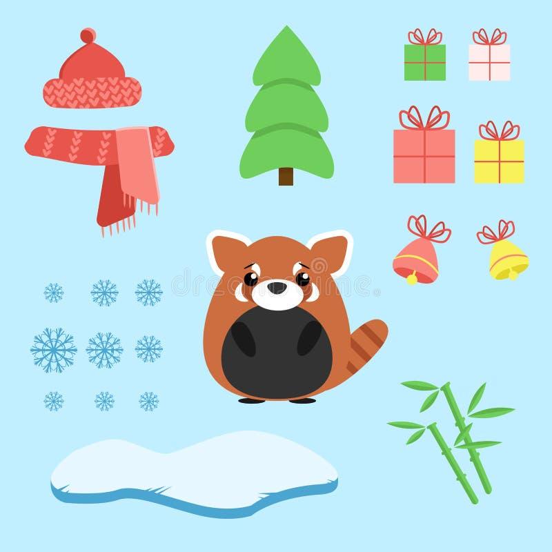 Vektoruppsättning av den röda pandan med xmas-personalen: klubba, gåvor, träd, isberg, hatt och halsduk, bambu och klockor royaltyfri illustrationer