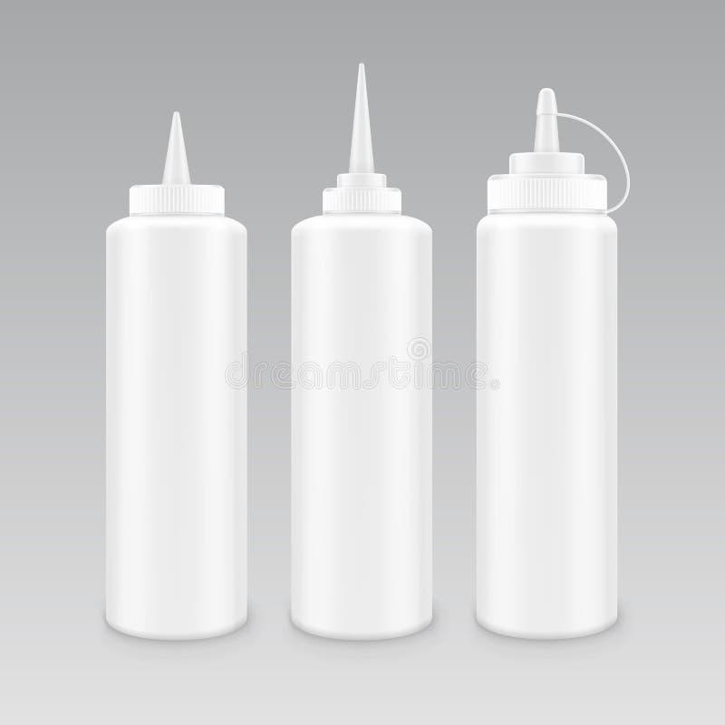 Vektoruppsättning av den senapsgula ketchupflaskan för tom plast- vit majonnäs för att brännmärka utan etiketten som isoleras på  royaltyfri illustrationer