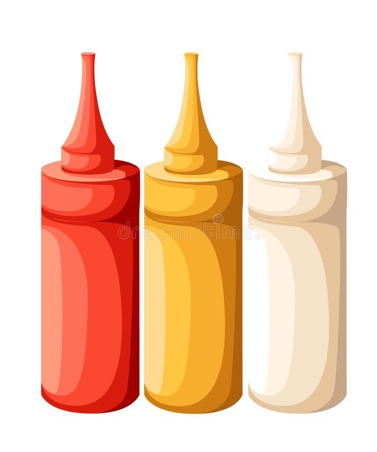 Vektoruppsättning av den senapsgula ketchupflaskan för tom plast- vit röd gul majonnäs för att brännmärka utan etiketten som isol stock illustrationer