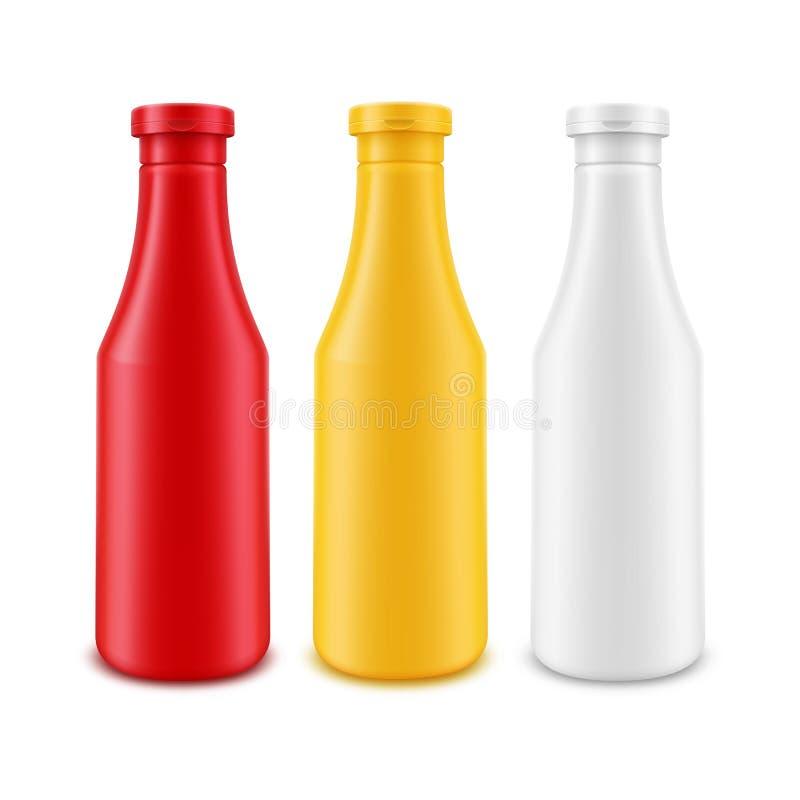 Vektoruppsättning av den senapsgula ketchupflaskan för tom plast- vit röd gul majonnäs för att brännmärka utan etiketten som isol vektor illustrationer