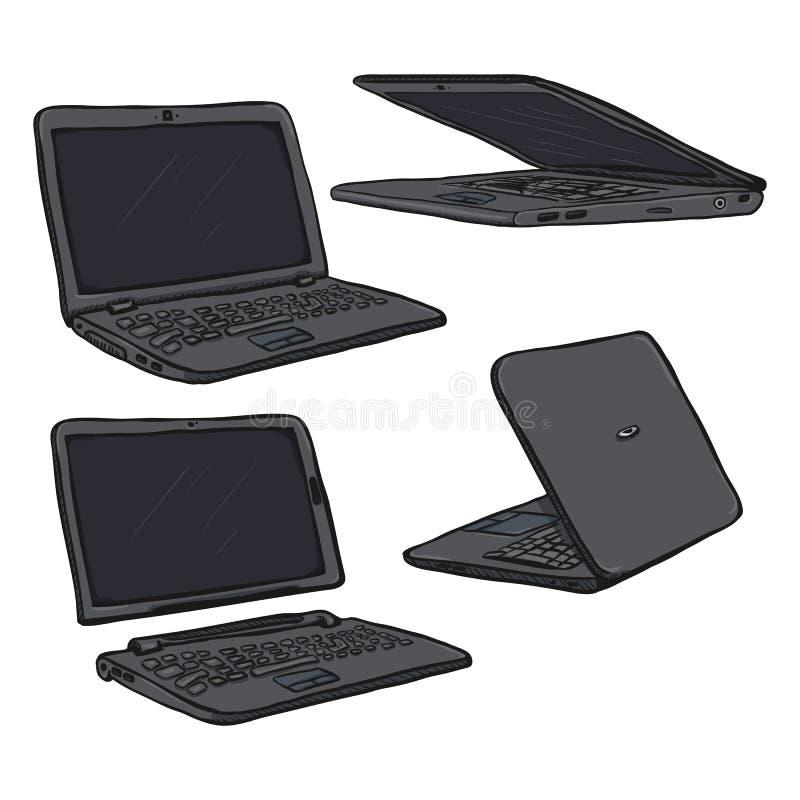 Vektoruppsättning av den tecknad filmGray Laptops PC:N vektor illustrationer