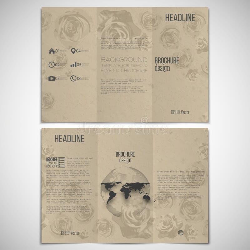 Vektoruppsättning av den trifold broschyrdesignmallen på royaltyfri illustrationer