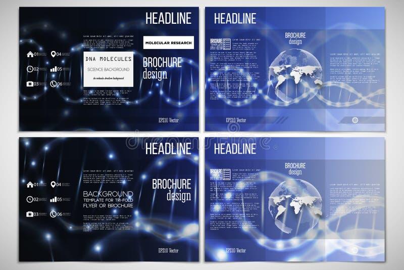 Vektoruppsättning av den trifold broschyrdesignmallen på båda sidor med världsjordklotbeståndsdelen DNAmolekylstruktur, blått vektor illustrationer