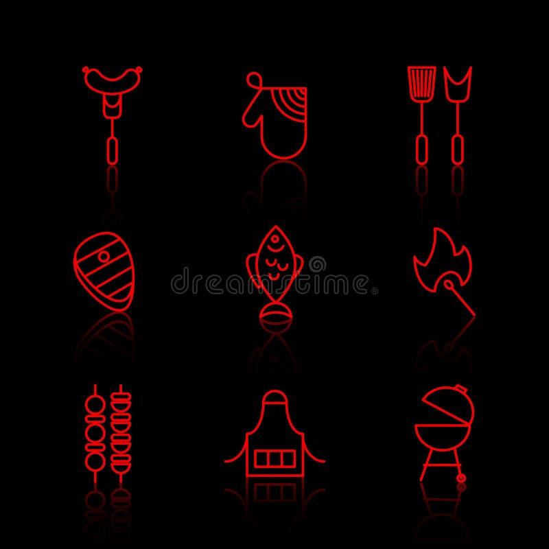Vektoruppsättning av den tunna linjen symboler för grillfest och för galler royaltyfri illustrationer