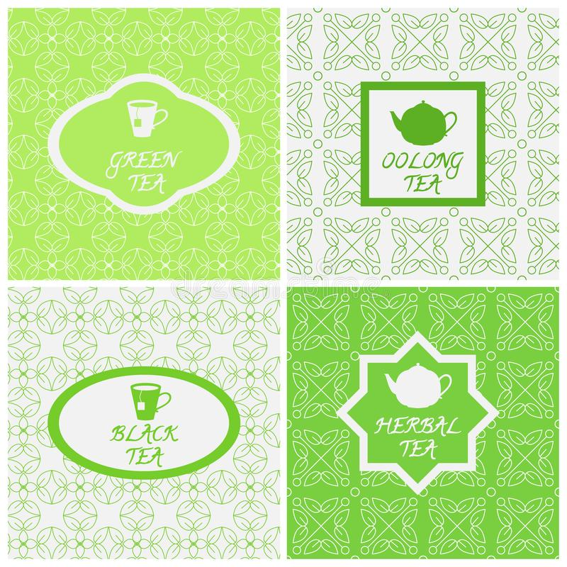 Vektoruppsättning av designbeståndsdelar, sömlösa modeller och symboler i moderiktig linjär stil Oolong, växt-, svart och grön te stock illustrationer