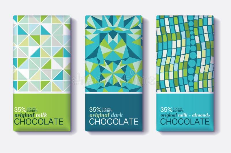 Vektoruppsättning av designer för packe för chokladstång med geometriska mosaiska modeller Redigerbar förpackande mallsamling royaltyfri illustrationer