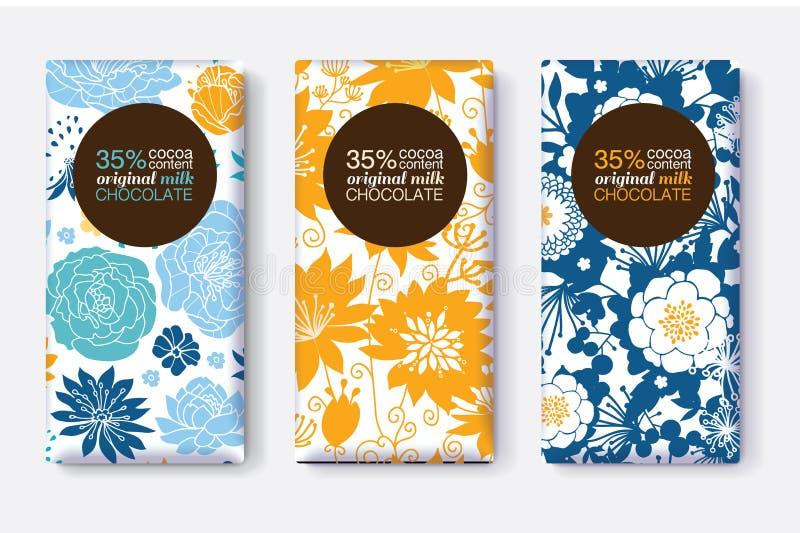 Vektoruppsättning av designer för packe för chokladstång med pastellfärgade blom- modeller för gulingblått Ställe för text Redige royaltyfri illustrationer