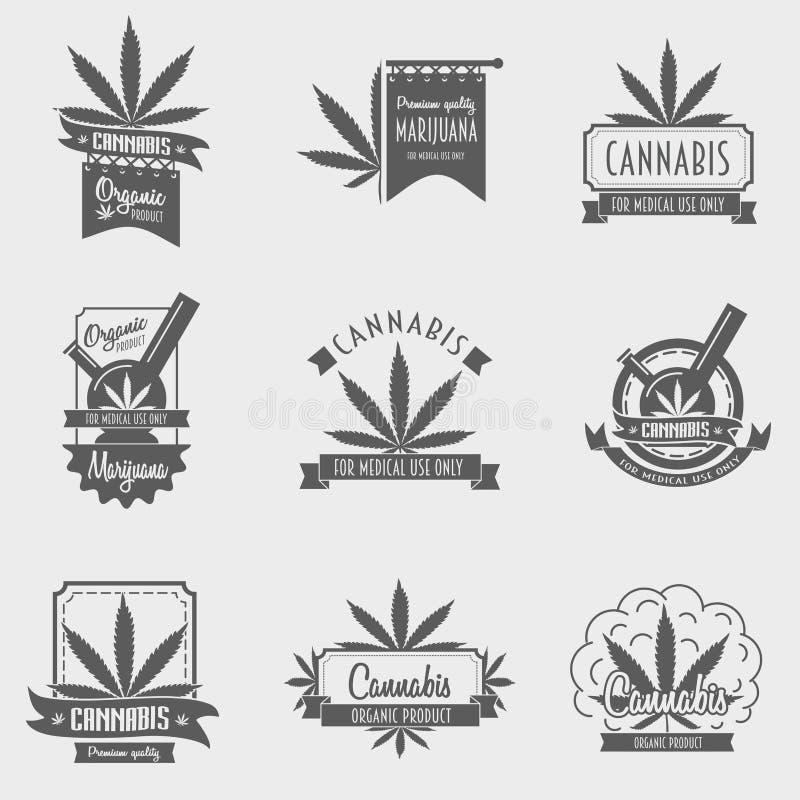 Vektoruppsättning av det cannabisemblemet, emblemet eller logoen royaltyfri fotografi