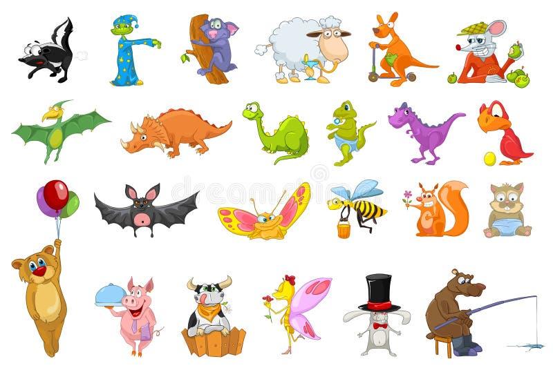 Vektoruppsättning av djurillustrationer stock illustrationer