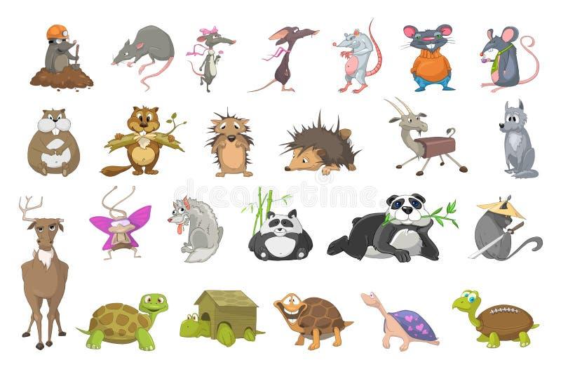 Vektoruppsättning av djurillustrationer royaltyfri illustrationer