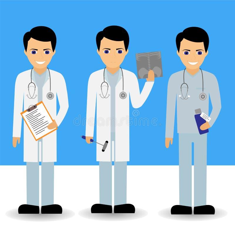 Vektoruppsättning av doktorer stock illustrationer