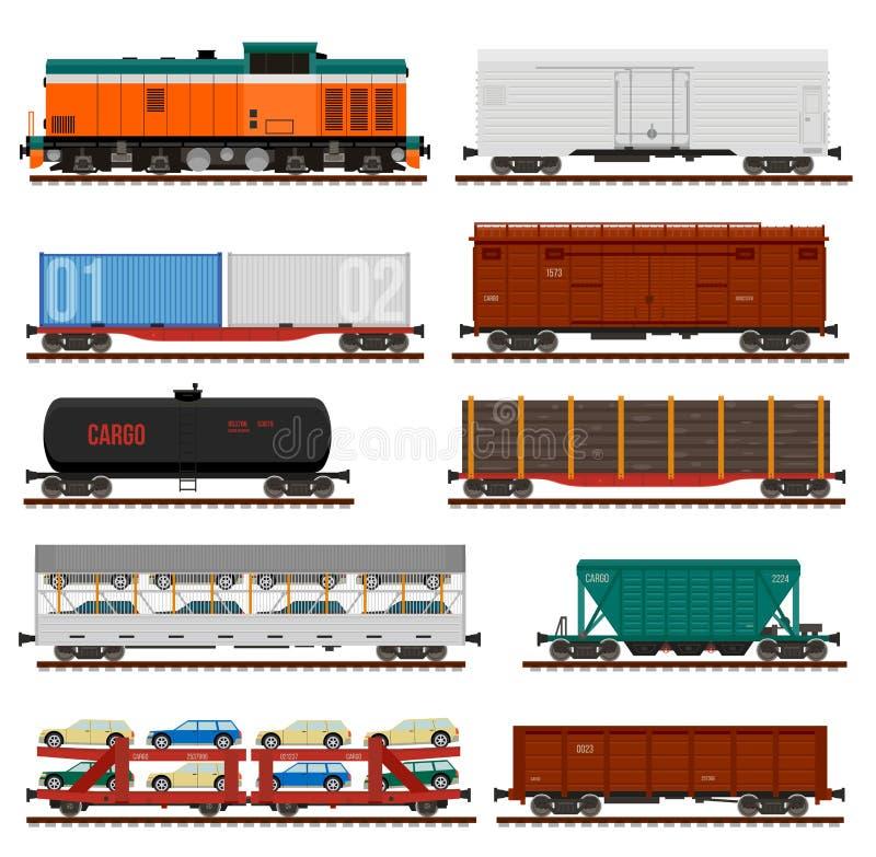 Vektoruppsättning av drevlastvagnar, behållare, bilar vektor illustrationer