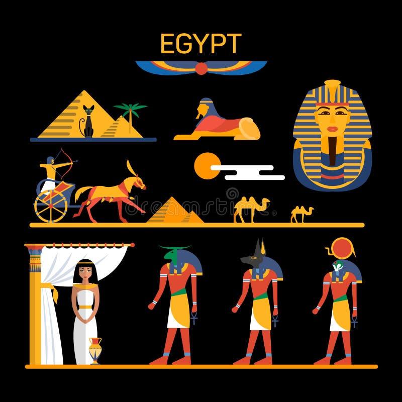 Vektoruppsättning av Egypten tecken med farao, gudar, pyramider, kamel royaltyfri illustrationer