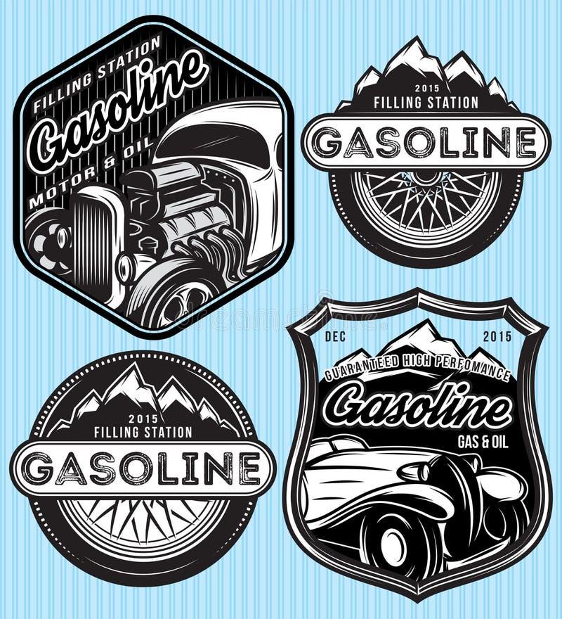 Vektoruppsättning av emblem för annonsering av bensin stock illustrationer