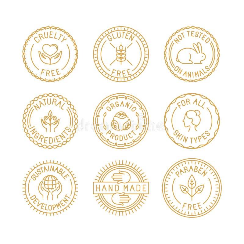 Vektoruppsättning av emblem och etiketter för naturlig och organisk skönhetsmedel royaltyfri illustrationer