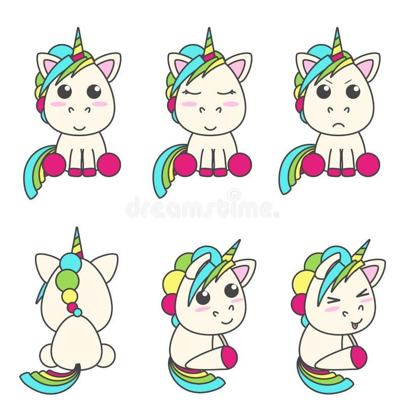 Vektoruppsättning av enhörningar med olika emoticons royaltyfri illustrationer