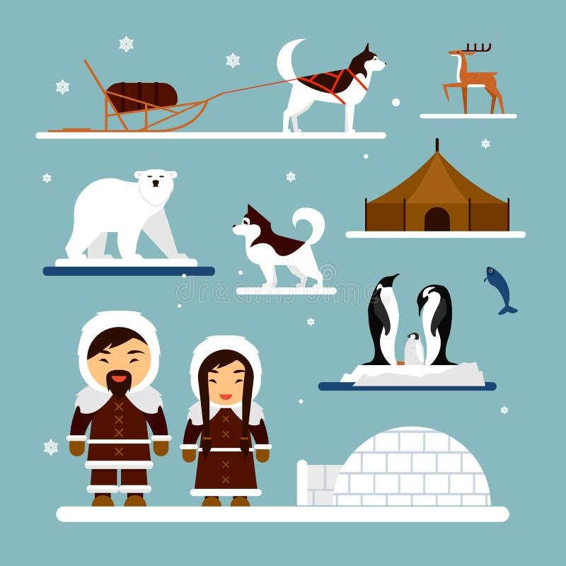 Vektoruppsättning av eskimo tecken med igloohuset, hunden, den vita björnen och pingvin Folk i traditionell eskimosdräkt stock illustrationer