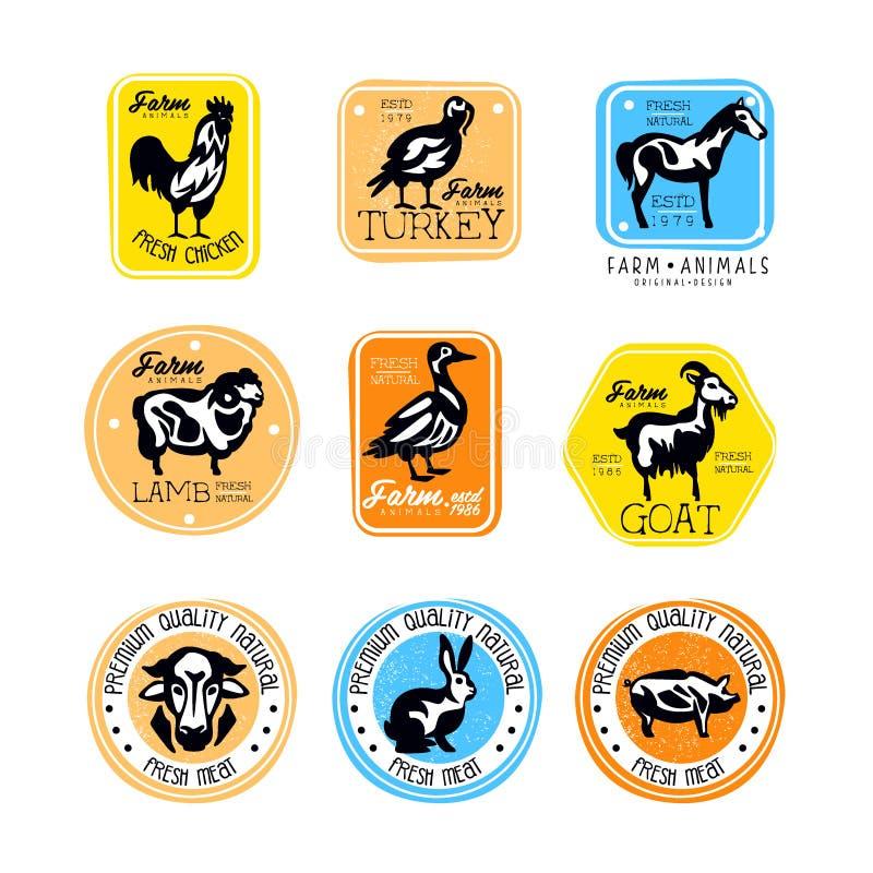 Vektoruppsättning av etiketter för tappningköttlager Logoer med konturer av lantgårddjur Slaktare Shop Klistermärke med lammet, k royaltyfri illustrationer