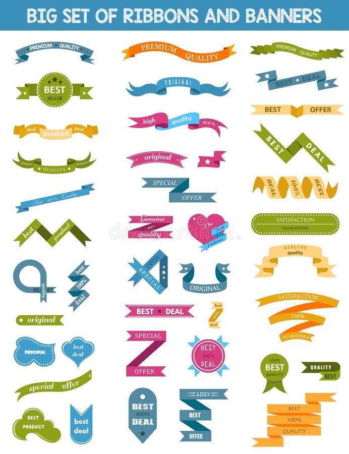 Vektoruppsättning av etiketter, klistermärkear och band stock illustrationer