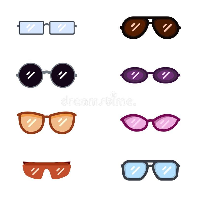 Vektoruppsättning av färgglasögonsymboler Solglasögon Rim Types royaltyfri illustrationer
