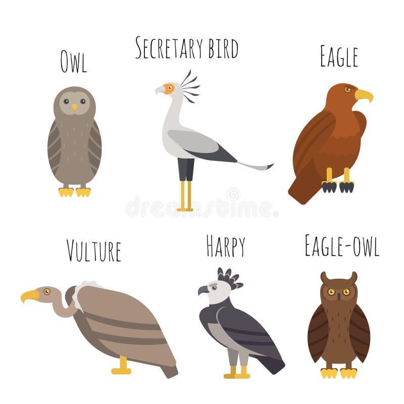 Vektoruppsättning av färgrika fåglar av rovsymboler Uggla gam, örn stock illustrationer