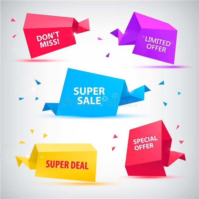 Vektoruppsättning av färgrika försäljningsbaner, bubblor, pappers- symboler för origami 3d royaltyfri illustrationer